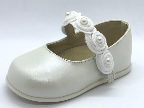 Babywalker Pearl Flower Leather Shoe