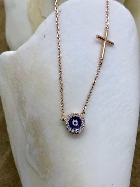 Evil Eye Mati Necklace Rose Gold 7