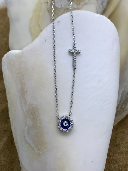 Evil Eye Mati Necklace Silver 10