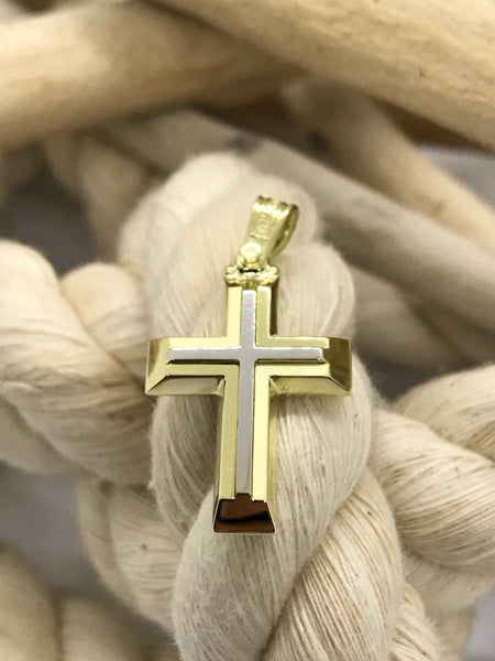 Triantos Yellow White Gold Cross 22