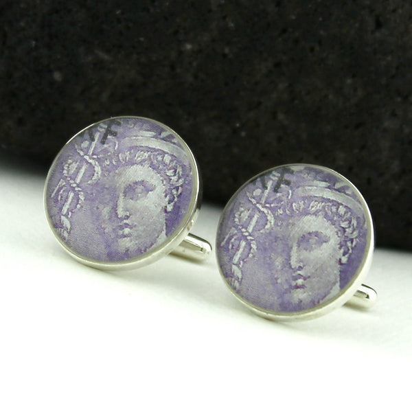 Doctor Sterling Silver Cufflinks (Cuff Links) - Mercury Holding Caduceus - France 1930s