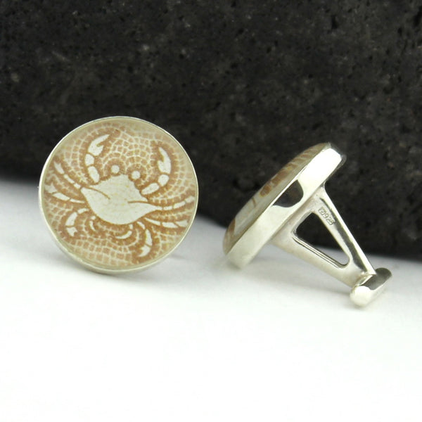 Sterling Silver Zodiac Cancer Cufflinks (Crab Cuff Link