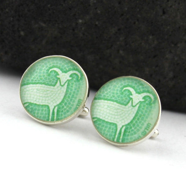 Sterling Silver Zodiac Aries Cufflinks (Ram Cuff Links)