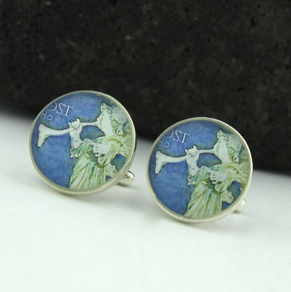 Angel Postage Stamp Sterling Silver Cufflinks (Cuff Links)