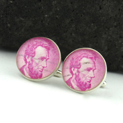 Lincoln Cufflinks - U.S. Postage Stamp Sterling Silver Cufflinks (Civil War Cuff Links)
