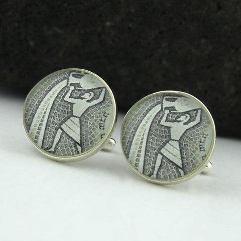 Aquarius Cufflinks (Zodiac Sterling Silver Cuff Links)