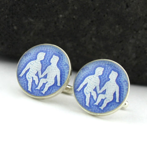 Gemini Cufflinks (Sterling Silver Zodiac Cuff Links)