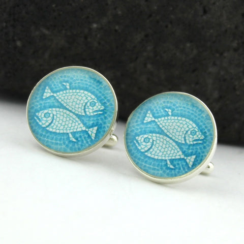 Piscis Cufflinks (Sterling Silver Zodiac Cuff Links)