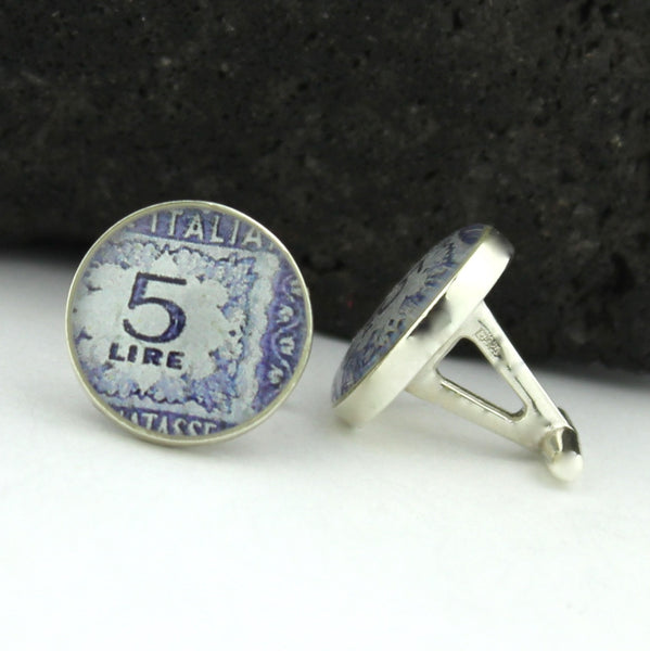 Italy Cufflinks - Italian Postage Stamp Sterling Silver Cufflinks (Cuff Links)