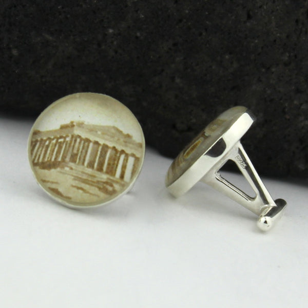 Acropolis Cufflinks (Cuff Links) - Parthenon - Greek Vintage Postage Stamp Cufflinks