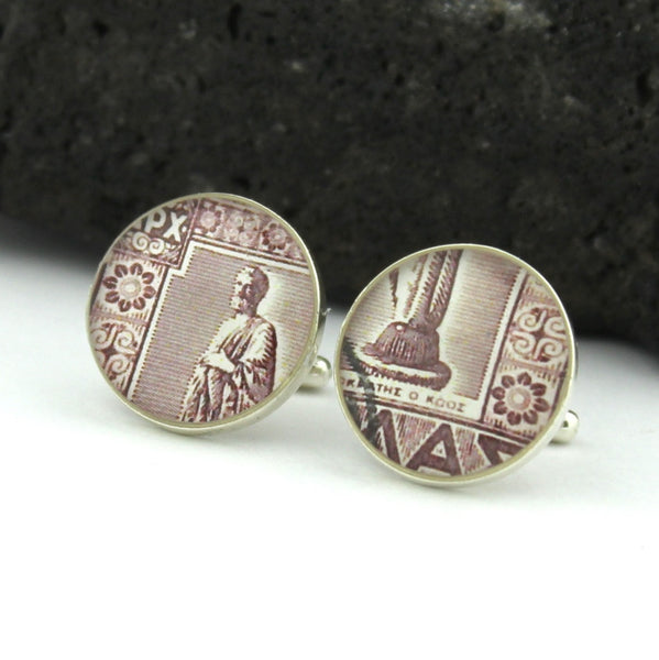 Doctor Sterling Silver Cufflinks (Cuff Links) - Hippocrates - Greece 1940s Postage Stamp