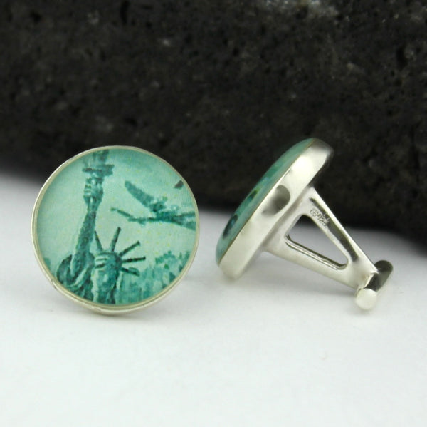 New York Sterling Silver Cufflinks - U.S. Postage Stamp Cufflinks (Cuff Links)