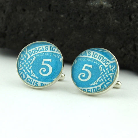 Ireland Blue Cufflinks - Irish Postage Stamp Sterling Silver Cufflinks (Cuff Links)