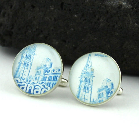 Canadian Parliament Cufflinks - Canadian Postage Stamp Sterling Silver Cufflinks (Ottowa Cuff Links)