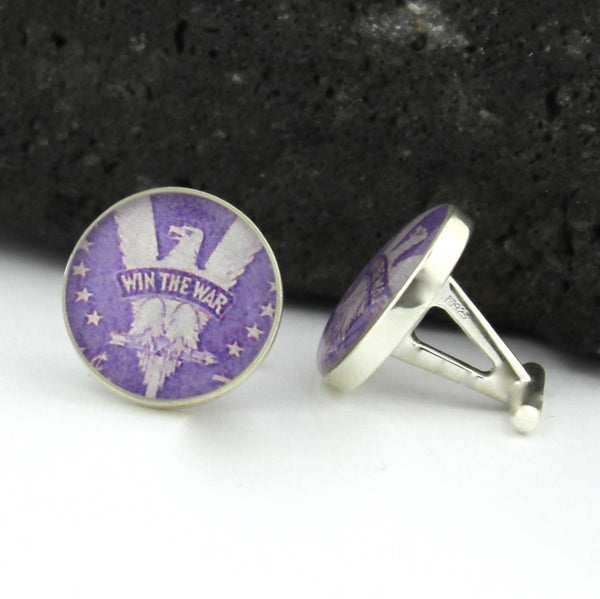 World War II Victory Cufflinks - Postage Stamp Sterling Silver Cufflinks (Purple Cuff Links)