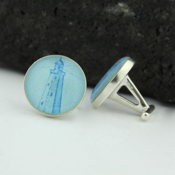 Light House Sterling Silver Cufflinks - U.S. Vintage Postage Stamp Cufflinks (Cuff Links) - Sandy Hook Lighthouse