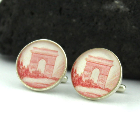 Paris Sterling Silver Cufflinks - Vintage French Postage Stamp Cufflinks (Cuff Links) - Arch de Triomphe Paris France