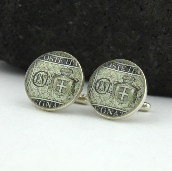 Italy Sterling Silver Cufflinks - Vintage Italian Postage Stamp Sterling Silver Cufflinks (Cuff Links) - Italy