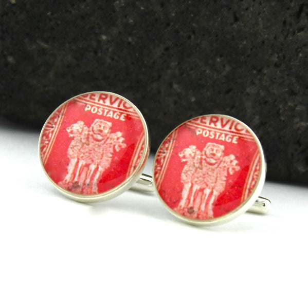 Sarnath Lion Sterling Silver Cufflinks - Vintage Indian Postage Stamp Cufflinks (Cuff Links)