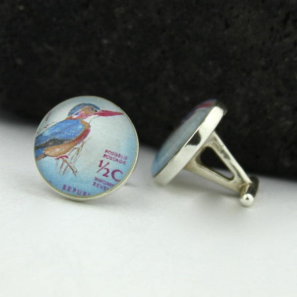 Kingfisher Sterling Silver Cufflinks - Vintage South African Postage Stamp Cufflinks (South Africa Cuff Links)