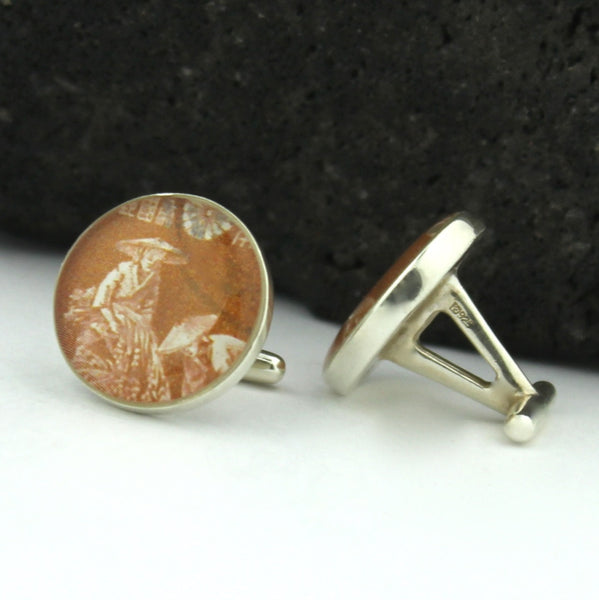 Japan Countryside Sterling Silver Cufflinks - Japanese Vintage Postage Stamp Handmade Cufflinks - First Harvest