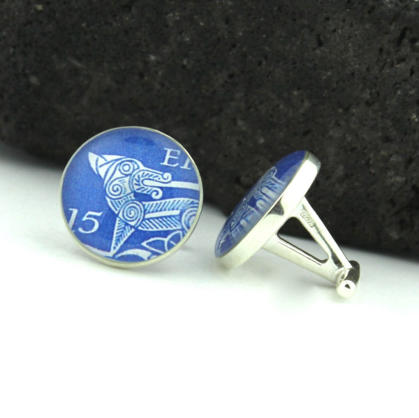 Irish Hound Sterling Silver Cufflinks - Vintage Irish Postage Stamp Sterling Silver Cufflinks (Cuff Links)