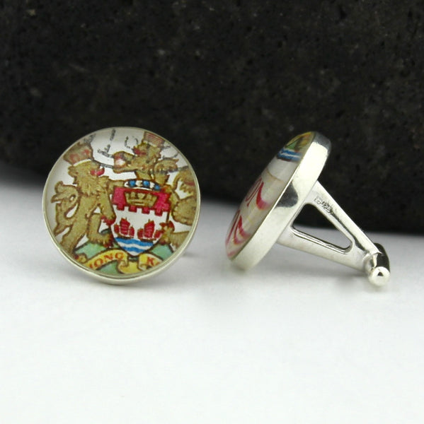 Hong Kong Sterling Silver Cufflinks - Vintage Hong Kong Postage Stamp Cufflinks (Cuff Links)