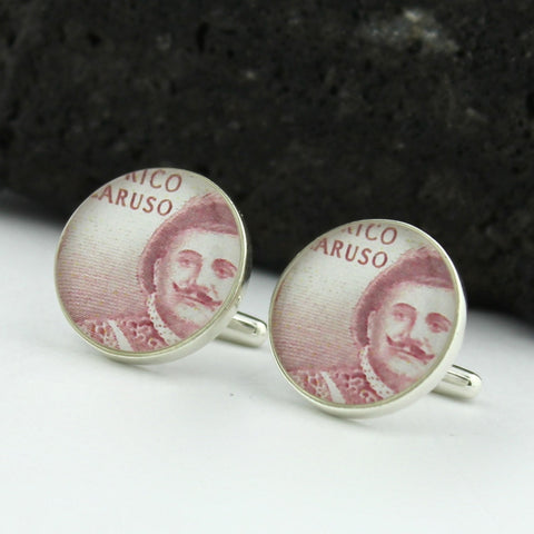 Opera Sterling Silver Cufflinks - Vintage Italian Postage Stamp Cufflinks (Cuff Links) - Italy Enrico Caruso