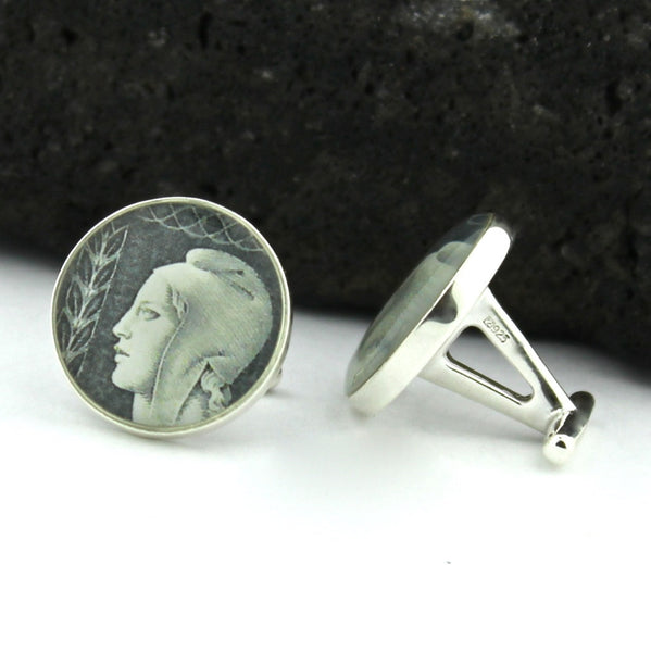 French Vintage Postage Stamp Sterling Silver Cufflinks (Cuff Links) - Marianne