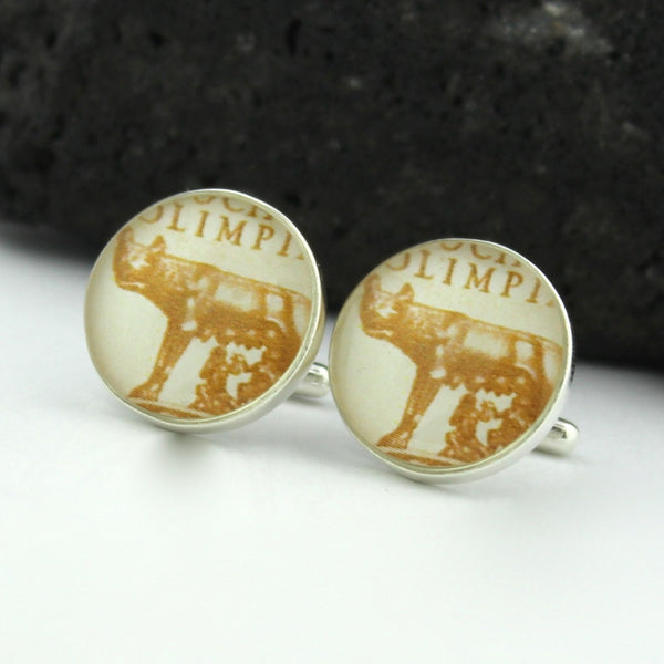 Sterling Silver Rome Cufflinks - Vintage Italian Postage Stamp Cufflinks (Cuff Links) - Italy Roman Wolf
