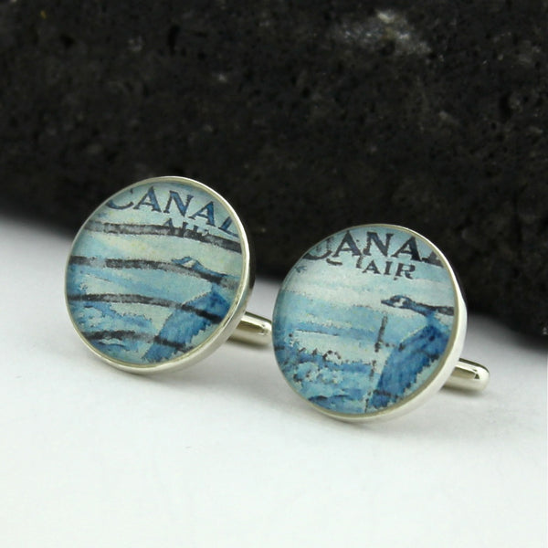 Goose Sterling Silver Cufflinks - Vintage Canadian Postage Stamp Cufflinks (Cuff Links)