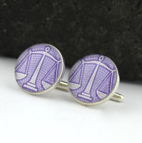Sterling Silver Libra Cufflinks (Scales Cuff Links)