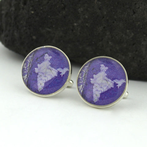 Sterling Silver India Cufflinks - Indian Postage Stamp Cufflinks (Cuff Links)