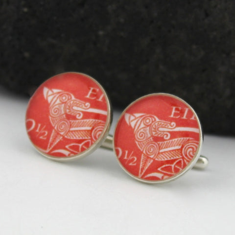 Sterling Silver Irish Hound Cufflinks - Irish Postage Stamp Cufflinks (Cuff Links)
