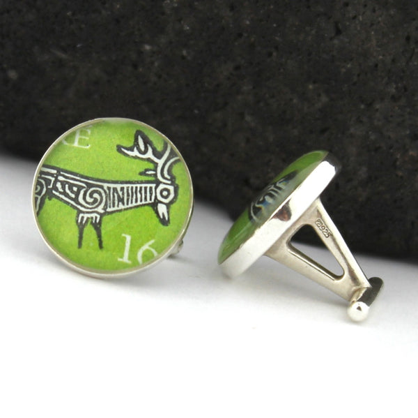 Sterling Silver Irish Stag Cufflinks - Vintage Irish Postage Stamp Cufflinks (Cuff Links)