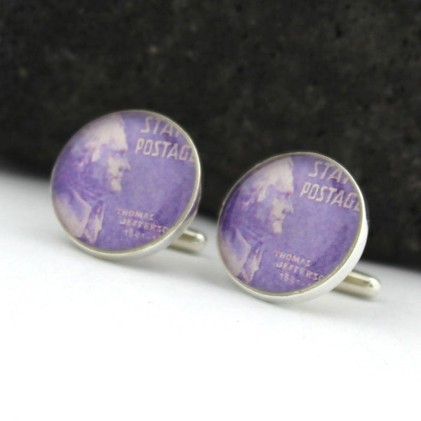 Thomas Jefferson Sterling Silver Cufflinks - Vintage U.S. Postage Stamp Cufflinks (Cuff Links) - Thomas Jefferson