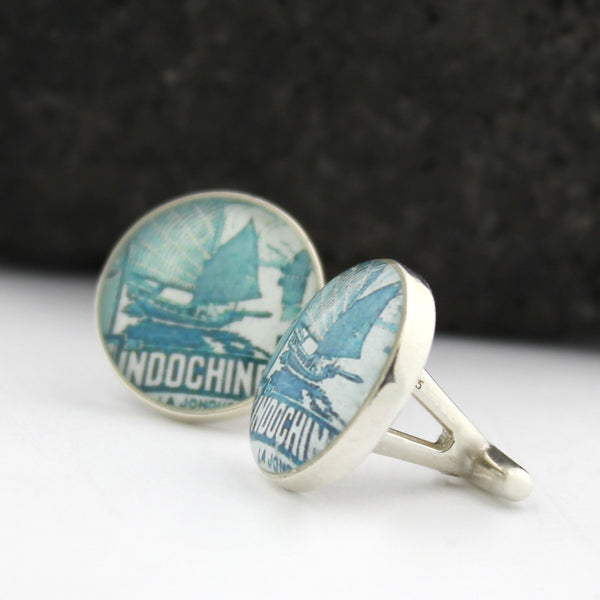 Vietnam (Indochine) Sterling Silver Cufflinks - Vintage Postage Stamp Cufflinks (Cuff Links)