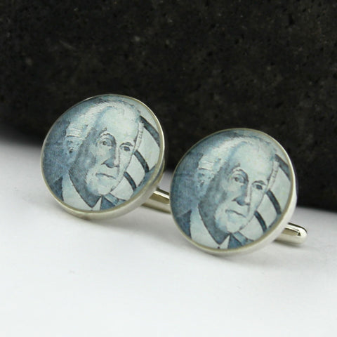 Architect Sterling Silver Cufflinks - Vintage U.S. Postage Stamp Cufflinks (Cuff Links) - Frank LLoyd Wright