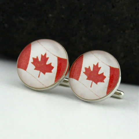 Canada Sterling Silver Cufflinks - Canadian Flag Cufflinks (Cuff Links)