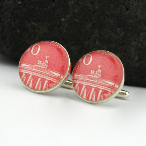 Brandenburg Gate Cufflinks - German Postage Stamp Sterling Silver Cufflinks (Germany Cuff Links)