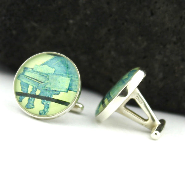 Piano Sterling Silver Cufflinks - U.S. Postage Stamp Cufflinks (Cuff Links) - Pianist Cufflinks