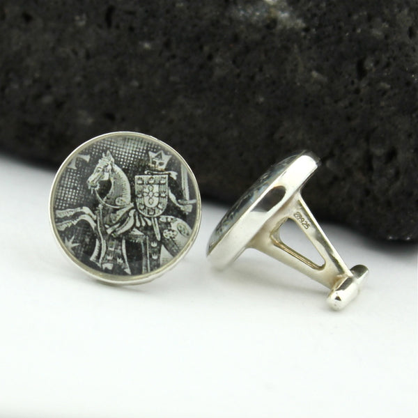 Black Knight Sterling Silver Cufflinks - Vintage Portugal Postage Stamp Cufflinks (Cuff Links)