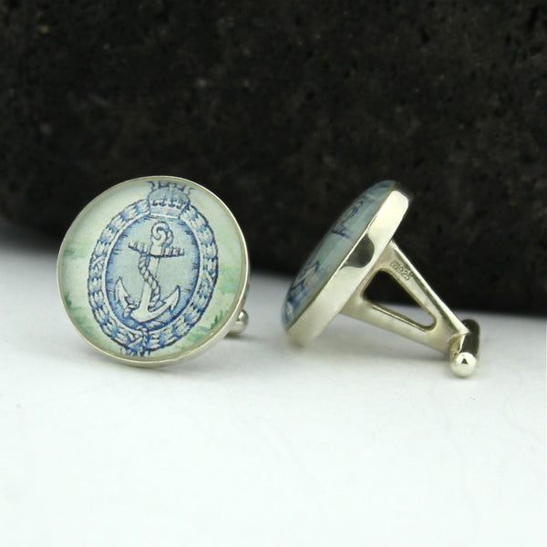 Anchor Cufflinks - New Zealand Sterling Silver Handmade Cufflinks