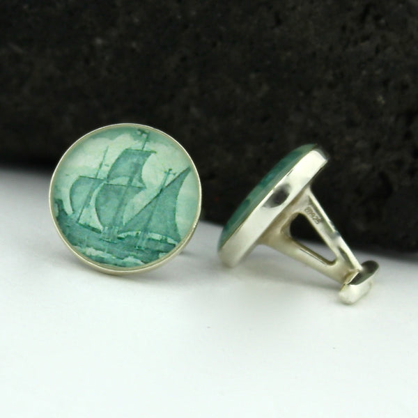 Canada Sterling Silver Cufflinks - Canadian Cufflinks (Cuff Links) - The Matthew - Newfoundland Cufflinks
