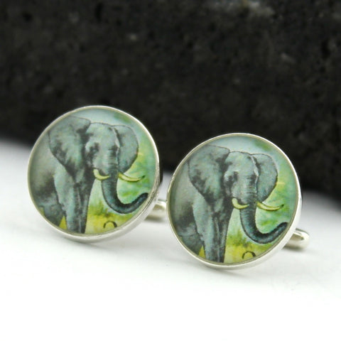 Elephant Sterling Silver Cufflinks - Vintage West African Postage Stamp Cufflinks (Cuff Links)