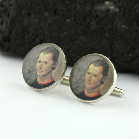 Niccolo Machiavelli Sterling Silver Cufflinks - Vintage Italian Postage Stamp Cufflinks (Cuff Links) - Italy