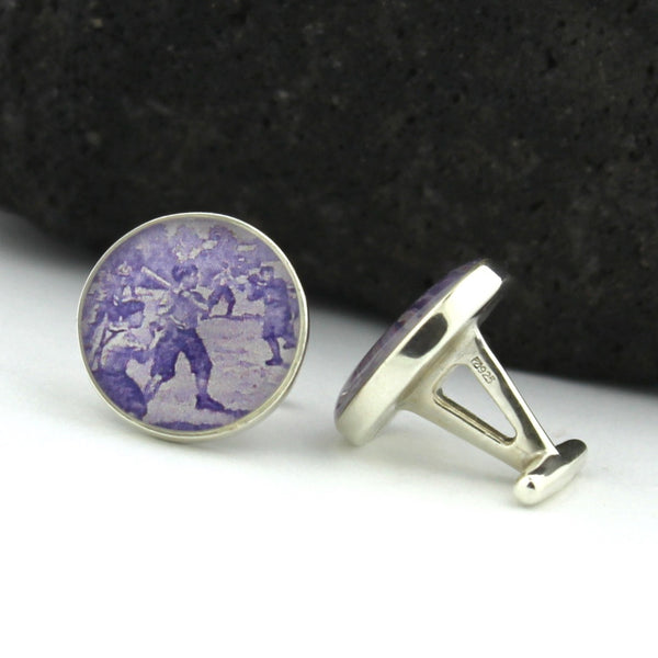 Baseball Sterling Silver Cufflinks - U.S. Postage Stamp Cufflinks (Cuff Links) - Baseball Cooperstown