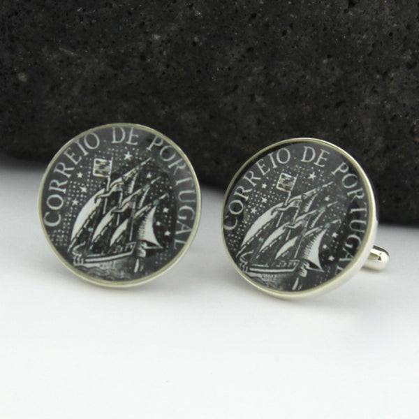 Caravel Sterling Silver Cufflinks - Portugal Vintage Postage Stamp Cufflinks (Cuff Links) - Portuguese Sail boat