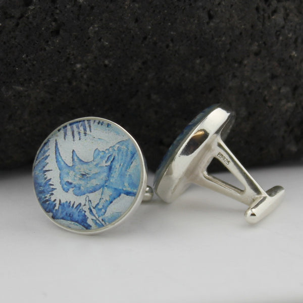 Rhino Sterling Silver Cufflinks - French Equatorial Africa Postage Stamp Cufflinks (Cuff Links)