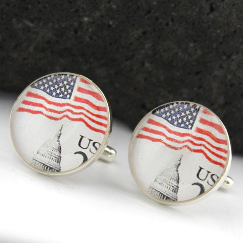 Washington DC Sterling Silver Cufflinks - U.S. Postage Stamp Cufflinks (Cuff Links) - Capitol - U.S. Flag Cufflinks
